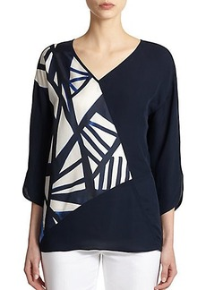 Lafayette 148 New York Silk Paneled Top