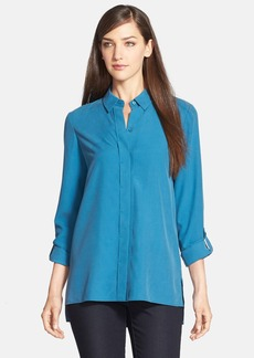 Lafayette 148 New York Silk Roll Sleeve Blouse