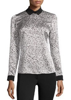 Lafayette 148 New York Silk Speckled-Print Blouse, Black Multi