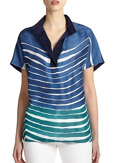 Lafayette 148 New York Silk Striped Top