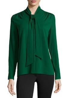 Lafayette 148 New York Silk Tie-Neck Long-Sleeve Blouse, Emerald