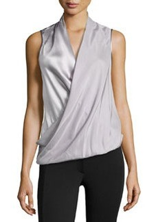 Lafayette 148 New York Silk Wrapped Sleeveless Blouse, Silver