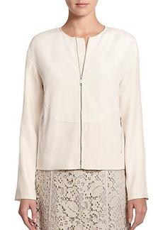 Lafayette 148 New York Silk Zip-Front Jacket