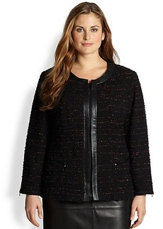 Lafayette 148 New York, Sizes 14-24 Anastasia Leather-Trimmed Tweed Jacket