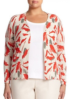 Lafayette 148 New York, Sizes 14-24 Cashmere & Silk Printed Cardigan