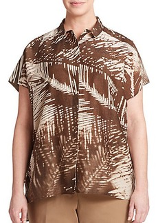 Lafayette 148 New York, Sizes 14-24 Cotton & Silk Printed Blouse