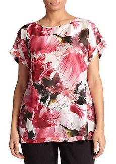 Lafayette 148 New York, Sizes 14-24 Donna Floral-Print Silk Top