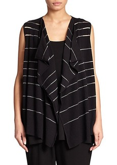 Lafayette 148 New York, Plus Size Draped Ribbed-Knit Vest