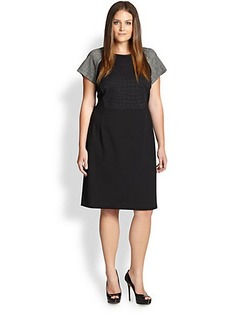 Lafayette 148 New York, Sizes 14-24 Embossed-Front Combo Dress
