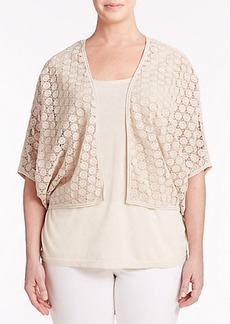 Lafayette 148 New York, Plus Size Embroidered Open Cardigan