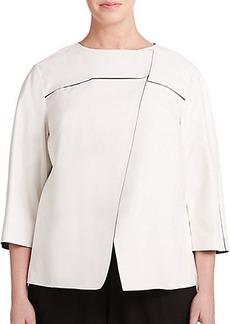 Lafayette 148 New York, Plus Size Leather Asymmetrical Jacket