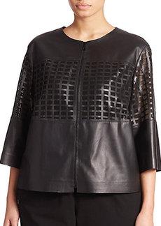 Lafayette 148 New York, Sizes 14-24 Leather Mesh-Paneled Jacket