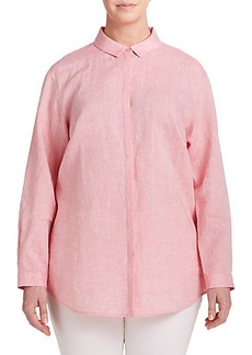 Lafayette 148 New York, Sizes 14-24 Linen Button-Front Shirt
