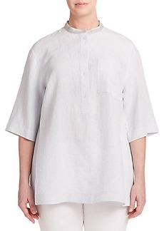 Lafayette 148 New York, Plus Size Linen Popover Shirt