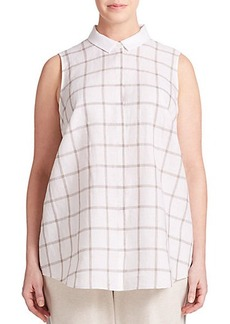 Lafayette 148 New York, Sizes 14-24 Linen Windowpane-Print Blouse