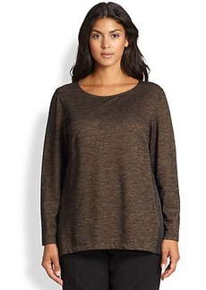 Lafayette 148 New York, Sizes 14-24 Metallic Side-Inset Top