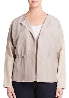 Lafayette 148 New York, Sizes 14-24 Mixed-Media Gathered Jacket