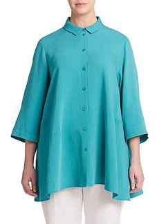 Lafayette 148 New York, Sizes 14-24 Oversized Button-Front Shirt