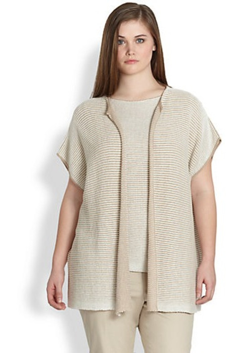 Lafayette 148 New York, Sizes 14-24 Oversized Open Vest