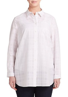 Lafayette 148 New York, Sizes 14-24 Plaid Button-Front Blouse