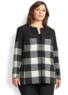 Lafayette 148 New York, Sizes 14-24 Pria Large-Check Coat