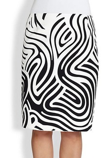 Lafayette 148 New York, Sizes 14-24 Printed Cotton Modern Slim Skirt