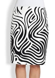 Lafayette 148 New York, Sizes 14-24 Printed Cotton Modern Slim Skirt