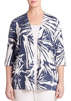 Lafayette 148 New York, Plus Size Printed Open Cardigan