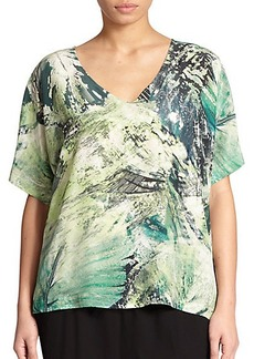 Lafayette 148 New York, Sizes 14-24 Printed Silk Blouse