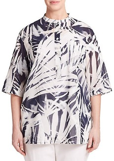 Lafayette 148 New York, Sizes 14-24 Printed Voile Blouse