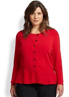 Lafayette 148 New York, Sizes 14-24 Ribbed Peplum Cardigan
