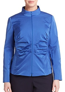 Lafayette 148 New York, Sizes 14-24 Ruched Zip-Front Jacket