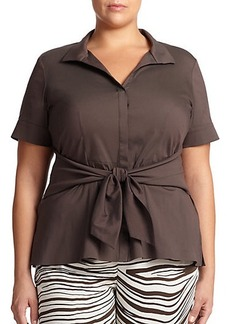 Lafayette 148 New York, Sizes 14-24 Ruth Tie-Front Blouse