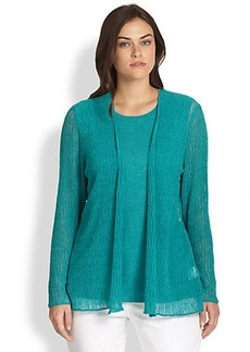 Lafayette 148 New York, Sizes 14-24 Semi-Sheer Open Cardigan