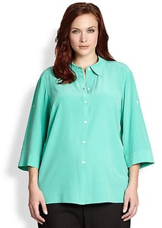 Lafayette 148 New York, Sizes 14-24 Silk Crepe De Chine Theo Blouse