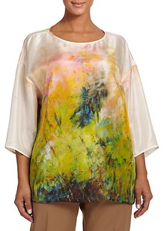 Lafayette 148 New York, Plus Size Silk Keline Blouse