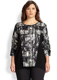 Lafayette 148 New York, Sizes 14-24 Silk Rayna Monotype Blouse