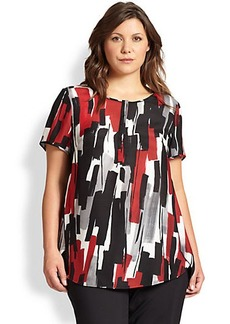Lafayette 148 New York, Sizes 14-24 Silk Shari Brushstroke-Print Top