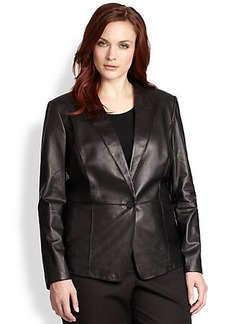 Lafayette 148 New York, Sizes 14-24 Spliced Leather Blazer