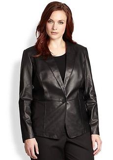 Lafayette 148 New York, Sizes 14-24 Spliced Leather Blazer