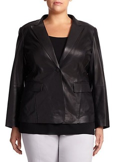 Lafayette 148 New York, Sizes 14-24 Stelly Leather & Lace Jacket