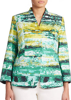 Lafayette 148 New York, Plus Size Stretch Cotton Printed Blazer