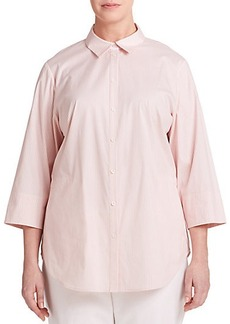 Lafayette 148 New York, Plus Size Striped Button-Front Shirt