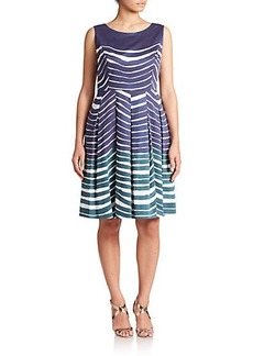 Lafayette 148 New York, Plus Size Striped Pleated Dress