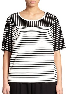 Lafayette 148 New York, Sizes 14-24 Striped Punto Milano Top