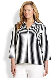 Lafayette 148 New York, Sizes 14-24 Striped Winged-Collar Top