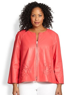 Lafayette 148 New York, Sizes 14-24 Three-Quarter-Sleeve Leather Jacket