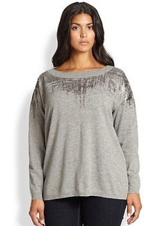 Lafayette 148 New York, Sizes 14-24 Wool Foil-Print Sweater