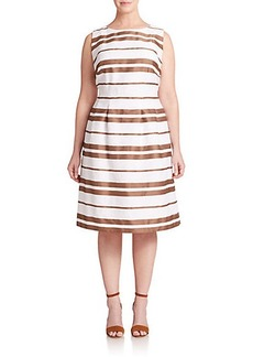 Lafayette 148 New York, Sizes 14-24 Zoe Striped Fit-&-Flare Dress