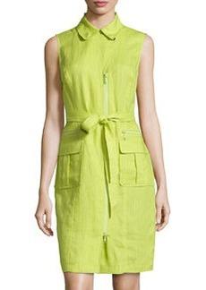 Lafayette 148 New York Sleeveless Belted Dress, Agave